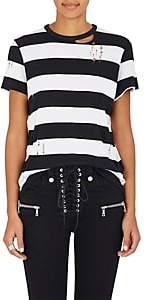 Amiri Women's Striped Cotton-Cashmere Distressed T-Shirt - Black, White