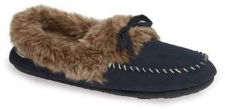 Acorn Faux Fur Trim Moccasin Indoor/Outdoor Slipper