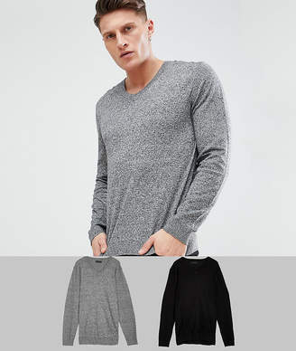Asos DESIGN 2 Pack V-neck Sweater In Black/Gray SAVE