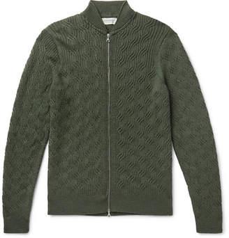 John Smedley Textured-Knit Merino Wool Zip-Up Cardigan