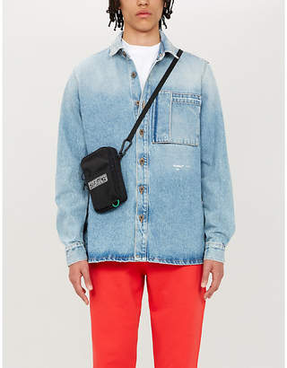 Off-White Graffiti logo-print faded denim jacket