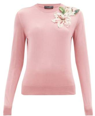 Dolce & Gabbana Lily Applique Silk Sweater - Womens - Pink