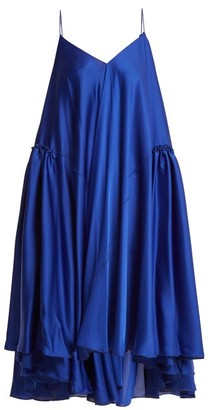 Maison Rabih Kayrouz Gathered Panel Charmeuse Dress - Womens - Blue