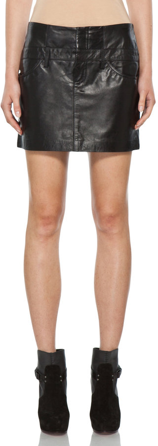 Theyskens' Theory Nibet Safaa Leather Skirt in Black