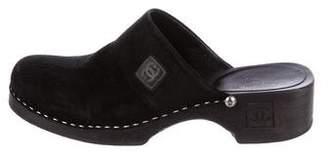 Chanel CC Suede Slide Clogs