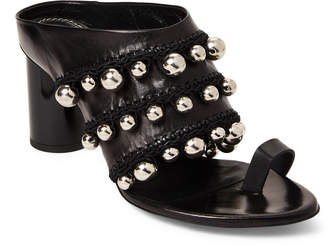 Proenza Schouler Black Pom-Pom Crochet Mule Sandals