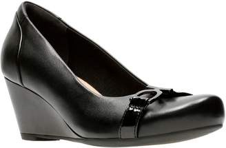 Clarks Collection By Flores Poppy Leather Wedge Pumps