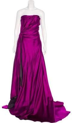 Reem Acra Strapless Silk Gown