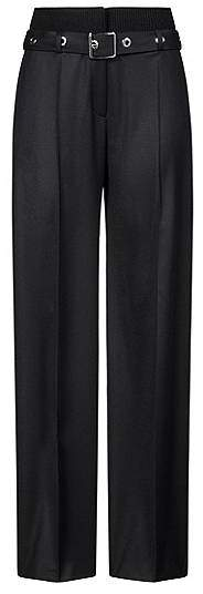 High-waisted trousers with knitted waistband and eyelet belt