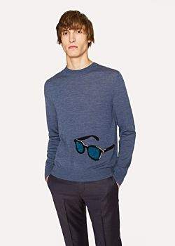 Paul Smith Men's Slate Blue Merino Wool Sweater With 'Sunglasses' Intarsia