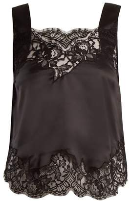 Givenchy - Lace Trimmed Silk Satin Cami Top - Womens - Black