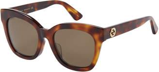 Gucci GG 0029SA Tortoiseshell-Like Wayfarer Sunglasses