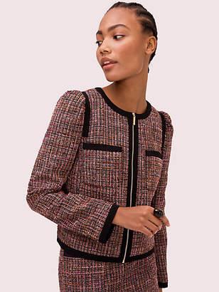 Kate Spade Puff Sleeve Tweed Jacket, Black - Size 0