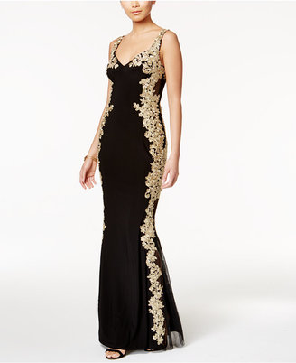 Betsy & Adam Illusion-Back Embroidered Gown $309 thestylecure.com