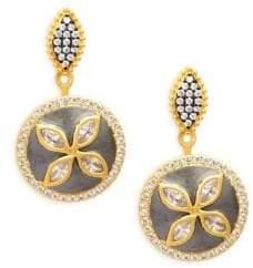 Freida Rothman Fleur Bloom Sterling Silver & Crystal Drop Earrings