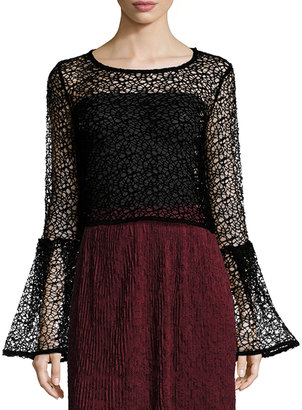 Romeo & Juliet Couture Bell-Sleeve Lace Top, Black $59 thestylecure.com