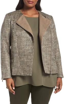 Lafayette 148 New York Trista Tweed & Leather Jacket