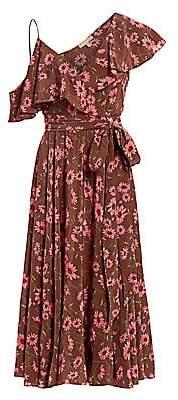 Michael Kors Women's Floral Silk Asymmetrical Ruffle Dress
