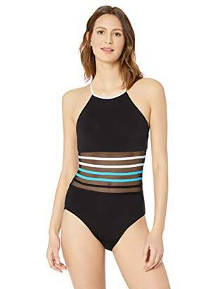 Nautica Women's High Neck with Mesh Inset One Piece Swimsuit