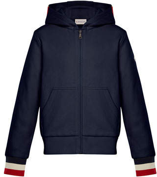 Moncler Hooded Zip-Up Cardigan w/ Tricolor Cuffs, Navy, Size 8-14
