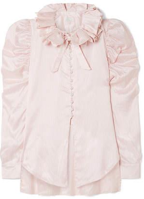 Hillier Bartley - Diana Ruffled Striped Silk-satin Shirt - Baby pink