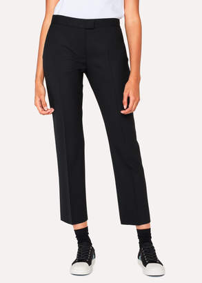 Paul Smith Women's Slim-Fit Black Wool-Hopsack Trousers With 'Acapulco' Linings