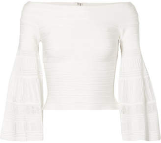 Herve Leger Off-the-shoulder Textured Knit-paneled Bandage Top