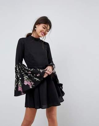 Asos Design Fluted Sleeve Embroidered Skater Mini Dress