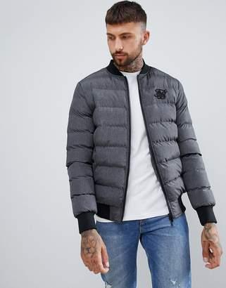 SikSilk puffer jacket in gray