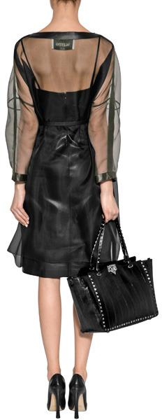 Valentino Black Silk Organza Belted Dress with Leather Trim