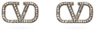 Valentino V Logo Crystal Embellished Earrings - Womens - Black