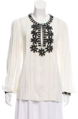 Oscar de la Renta Silk Embellished Top