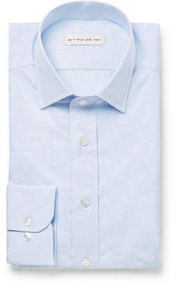 Etro Light-Blue Slim-Fit Paisley Cotton-Jacquard Shirt