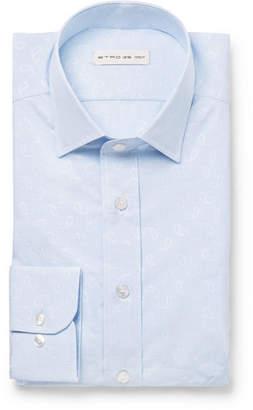 Etro Light-Blue Slim-Fit Paisley Cotton-Jacquard Shirt