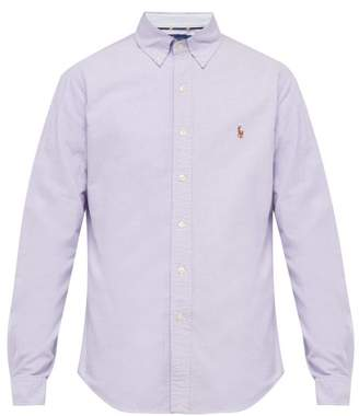 Polo Ralph Lauren Logo Embroidered Button Down Cotton Oxford Shirt - Mens - Purple