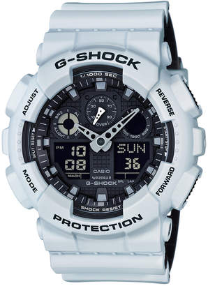 G-Shock Men Analog-Digital White Resin Strap Watch 51x55mm GA100L-7A