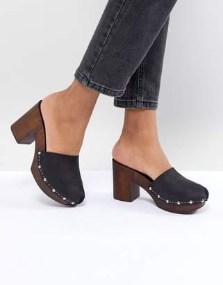 Asos DESIGN Tio Leather Mule Clogs