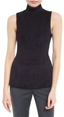 Theory Eulia Tilde 2 Suede Mock Neck Top $177 thestylecure.com