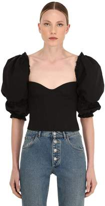 Brock Collection Ruffled Cotton & Linen Bustier Top