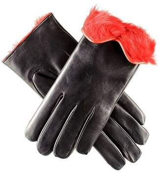 Black and Red Rabbit Fur Lined Leather Gloves
