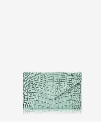 GiGi New York Medium Envelope In Mint Crocodile Embossed Leather