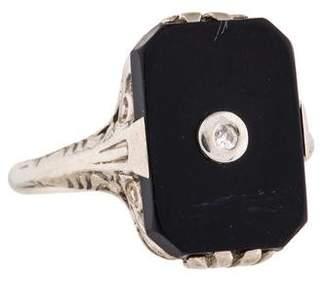 Ring 14K Onyx & Diamond Art Deco