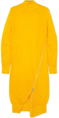 Sacai Zip-detailed Wool Turtleneck Midi Dress - Bright yellow