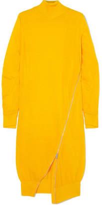 Sacai Zip-detailed Wool Turtleneck Midi Dress - Bright yellow