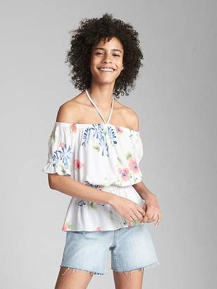 Gap Floral Off-Shoulder Tie-Neck Blouse