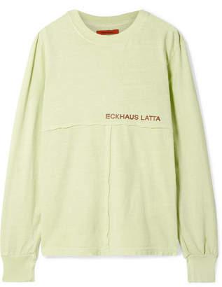 Eckhaus Latta Printed Cotton-jersey Top - Lime green