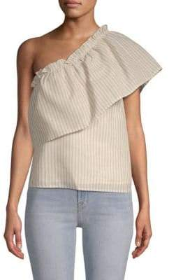 Lucca Couture Juliana One-Shoulder Striped Cotton Top