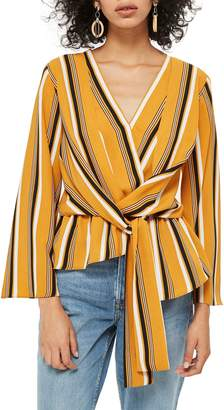 Topshop Tiffany Stripe Asymmetrical Blouse