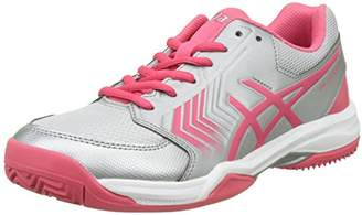 Asics Women''s Gel-Dedicate 5 Clay Tennis Shoes, Silver/Rouge Red/White