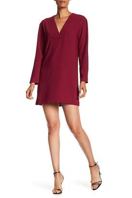 Amanda Uprichard V-neck Long Ruffled Sleeve Dress